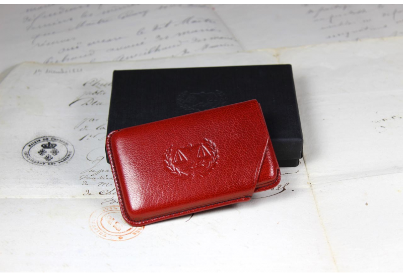 Red business cards holder